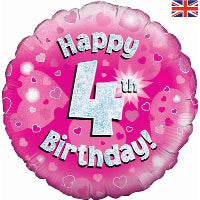 "18"" FOIL HAPPY 4TH BIRTHDAY PINK"