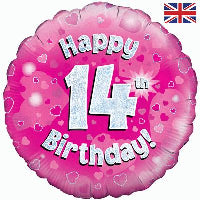 "18"" FOIL HAPPY 14TH BIRTHDAY PINK"
