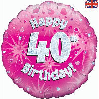 "18"" FOIL HAPPY 40TH BIRTHDAY PINK"
