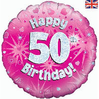 "18"" FOIL HAPPY 50TH BIRTHDAY PINK"