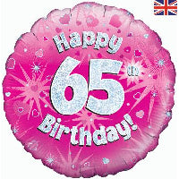 "18"" FOIL HAPPY 65TH BIRTHDAY PINK"