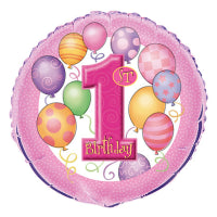 "18"" FOIL FIRST BIRTHDAY BALLOON PINK"