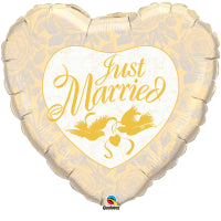 "18""HEART JUST MARRIED IVORY & GOLD"