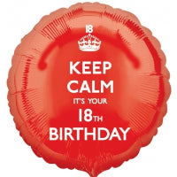 "18"" FOIL BALLOON KEEP CALM ITS YOUR 18TH BIRTHDAY"
