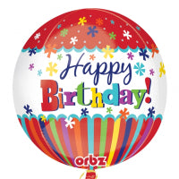 "15"" FOIL ORBZ HAPPY BIRHDAY STRIPES & BURSTS"