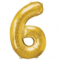 "34"" SHAPE FOIL NUMBER 6 - GOLD (ANAGRAM)"