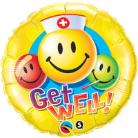 "36"" GET WELL SMILEY FACES BALLOON"