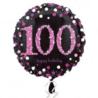 "18"" BLACK & PINK SPARKLING 100TH FOIL"