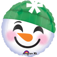 "18"" SNOWMAN EMOTICON FOIL BALLOON"