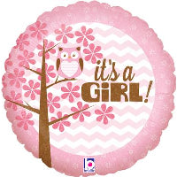 "18"" ITS A GIRL BABY OWL FOIL BALLOON"