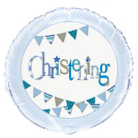"18"" BLUE CHRISTENING BUNTING FOIL BALLOON"