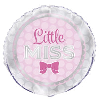 "18"" FOIL BALLOON PINK BOW LITTLE MISS"