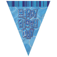 GLITZ BLUE HAPPY BIRTHDAY FLAG BANNER 9FT