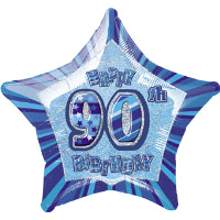 "20"" FOIL GLITZ BLUE PRISMATIC BALLOON 90"