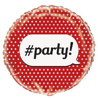 "18"" RED DOT #PARTY FOIL BALLOON"