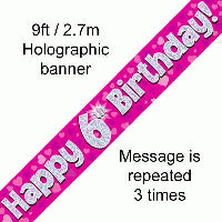 FOIL BANNER 6TH BIRTHDAY PINK