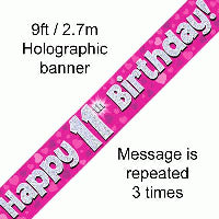 FOIL BANNER 11TH BIRTHDAY PINK