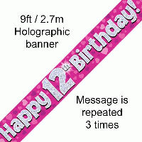 FOIL BANNER 12TH BIRTHDAY PINK