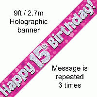 FOIL BANNER 15TH BIRTHDAY PINK