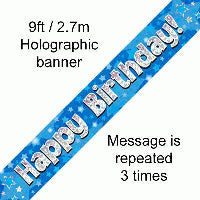 FOIL BANNER HAPPY BIRTHDAY BLUE