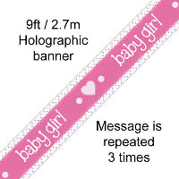 FOIL BANNER ITS A GIRL PASTEL HEART