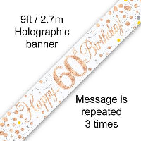 WHITE & ROSE GOLD 60TH BIRTHDAY FOIL BANNER