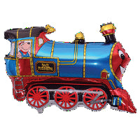 "BLUE JUMBO TRAIN SHAPE FOIL BALLOON 31""W X 28""H"