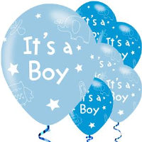 "11"" ITS A BOY ASST BLUE LATEX 6PK"