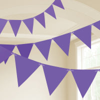 NEW PURPLE PLASTIC FLAG BUNTING 10M