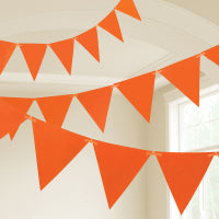 ORANGE PLASTIC FLAG BUNTING 10M