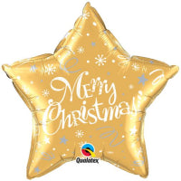 "20"" FOIL STAR MERRY CHRISTMAS FESTIVE GOLD"