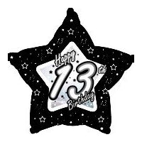 "18"" FOIL HAPPY 13TH BIRTHDAY BLACK & SILVER"