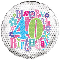 "18"" FOIL HAPPY 40TH BIRTHDAY"