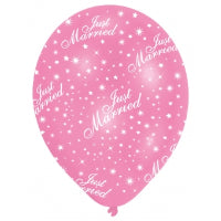 "11"" JUST MARRIED PEARL PINK LATEX 6PK"