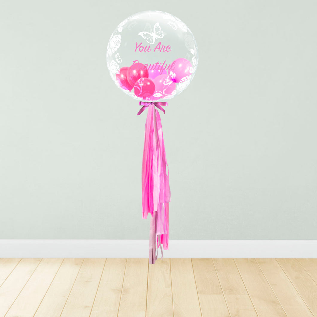 Rose & Butterfly Print Personalised Balloon Package Pink