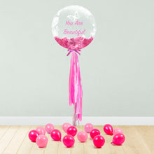 Load image into Gallery viewer, Rose & Butterfly Print Personalised Balloon Package Pink