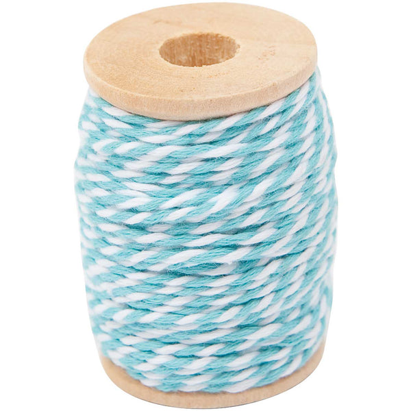 Hilo Cotton Twine 15 mts <br> Turquoise / White
