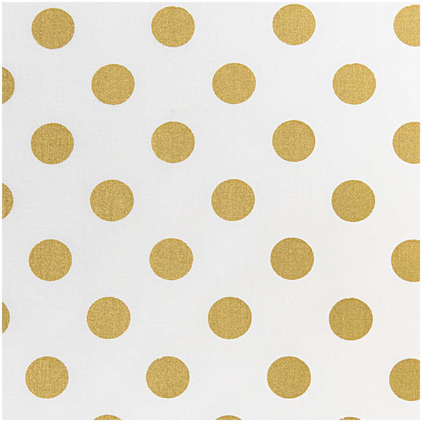 White, Big Dots Gold (100% Algodón) <br> Trozo 140 x 50 cm