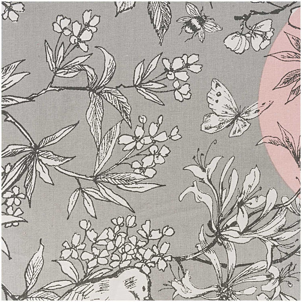 Grey / Rose, Birds (100% Algodón, PU coated) <br> De Corte, 140 cm de Ancho