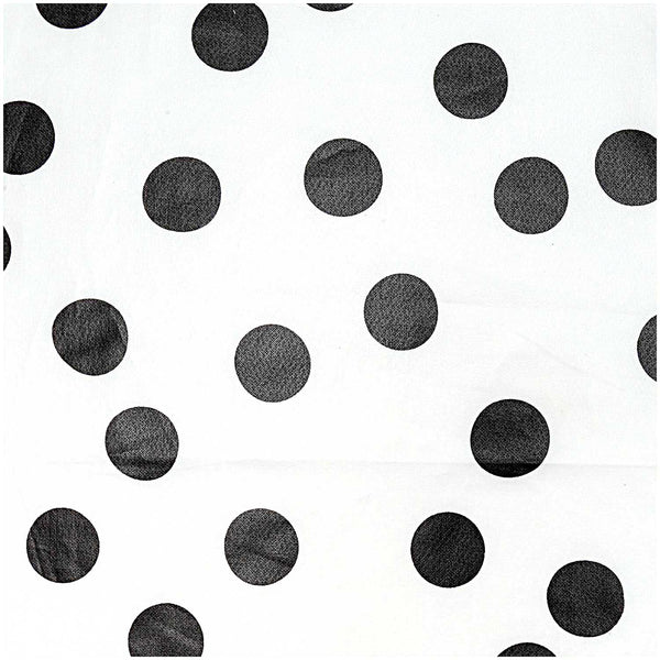 White, Big Dots Black (100% Algodón, PU coated) <br> Trozo 25 x 70 cm