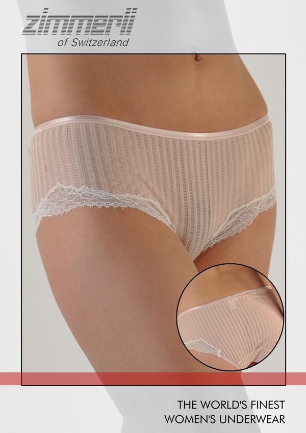 Maude Prive Swiss Cotton w/Lace Hipster Panty
