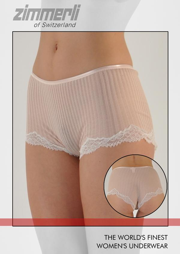 Maude Prive Swiss Cotton w/Lace Boy Short Panty