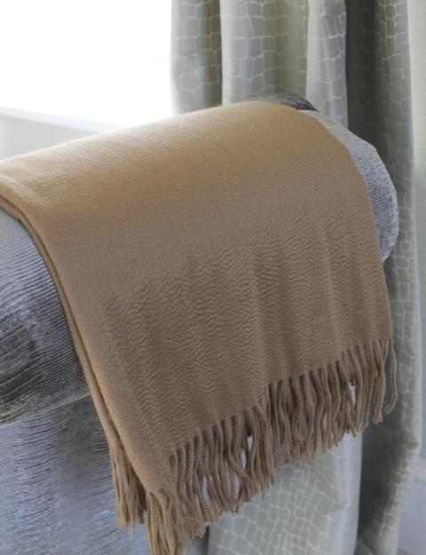 "Throw: Begg 58""x72"" Cashmere Throw Blanket from Scotland-Light Colors"