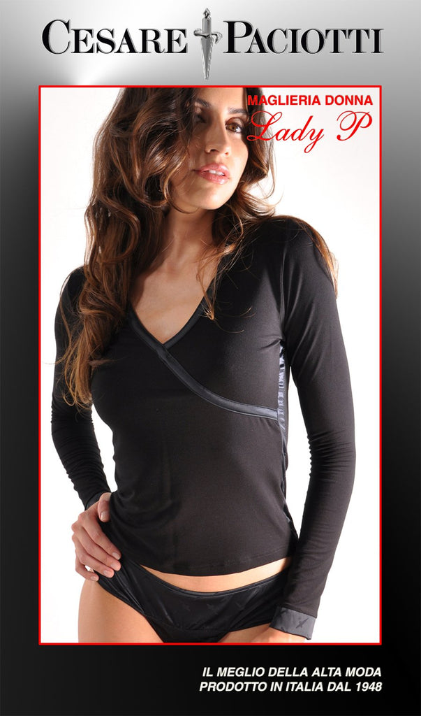 Lady P Long Sleeve Mock Crossover Couture V-neck Top