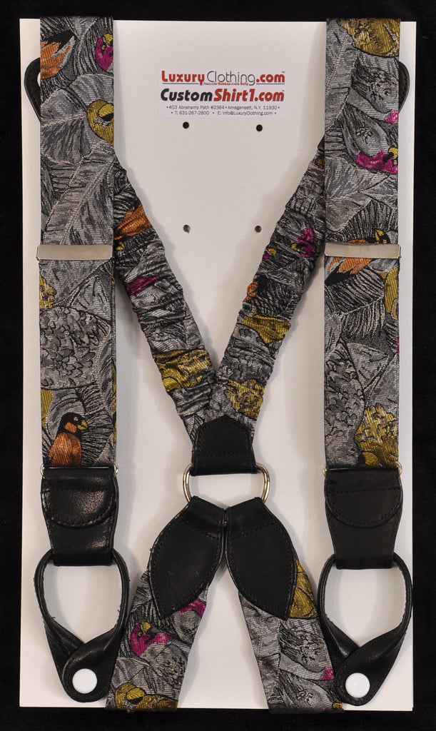 SAMPLE-Only One Available: Kabbaz-Kelly Handmade Braces - Tropical Birds on Silver/Black & Black Leather
