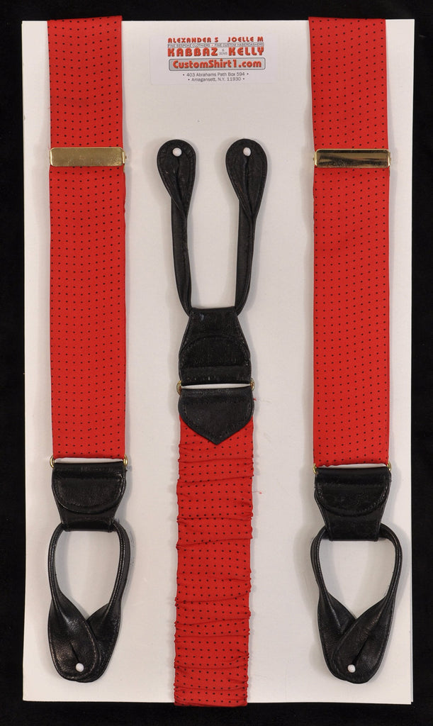 SAMPLE-Only One Available: Kabbaz-Kelly Handmade Braces - Red with Black Swiss Dot Print & Black Leather
