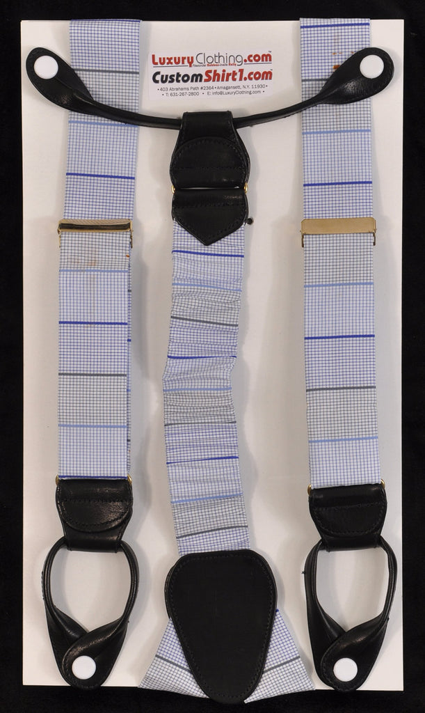 SAMPLE-Only One Available: Kabbaz-Kelly Handmade Braces - Blue Horizontal Stripe Swiss Cotton & Black Leather