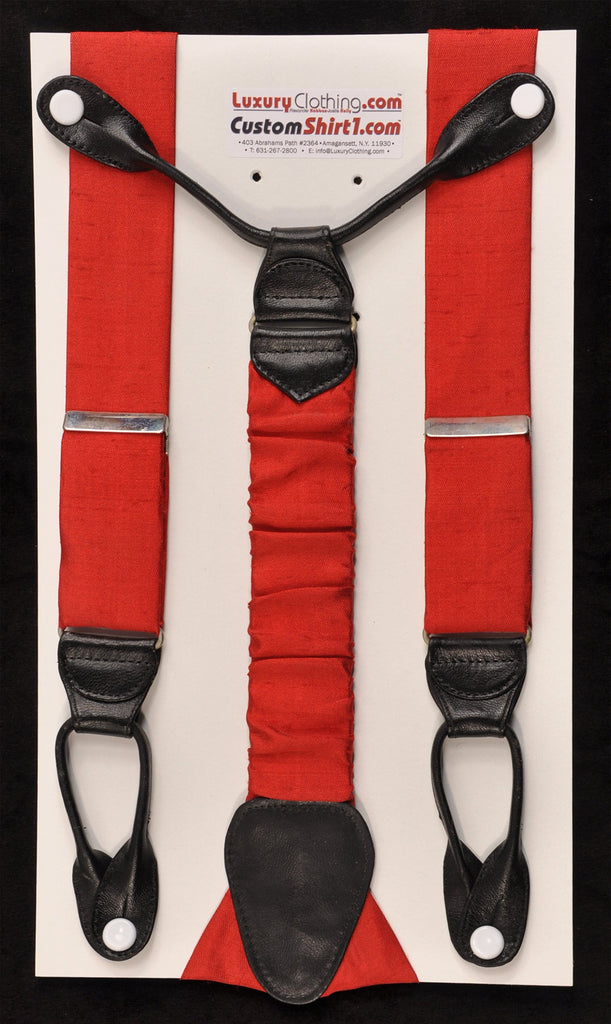 SAMPLE-Only One Available: Kabbaz-Kelly Handmade Braces - Red Dupioni Silk & Black Leather