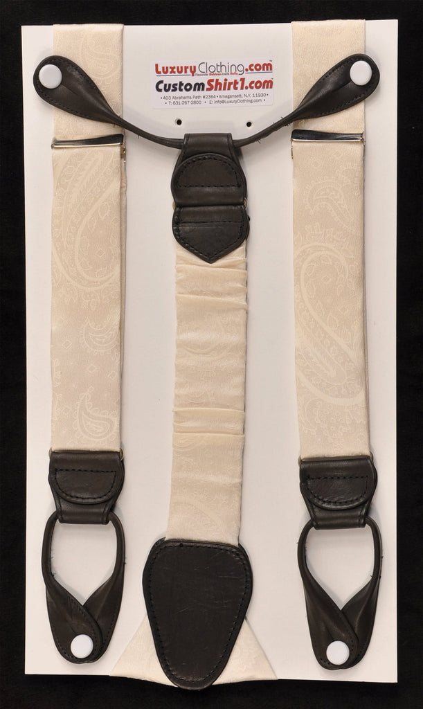 SAMPLE-Only One Available: Kabbaz-Kelly Handmade Braces - Winter White Ton-on-Tone Paisley & Black Leather