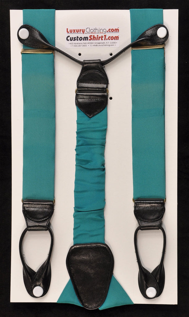 SAMPLE-Only One Available: Kabbaz-Kelly Handmade Braces - Dark Teal Silk Crepe de Chine & Black Leather